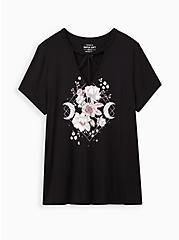 Classic Fit Strappy Tee - Floral Moon Black, DEEP BLACK, hi-res