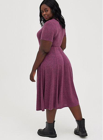 Midi Skater Dress - Super Soft Plush Dark Purple, BURGUNDY, alternate