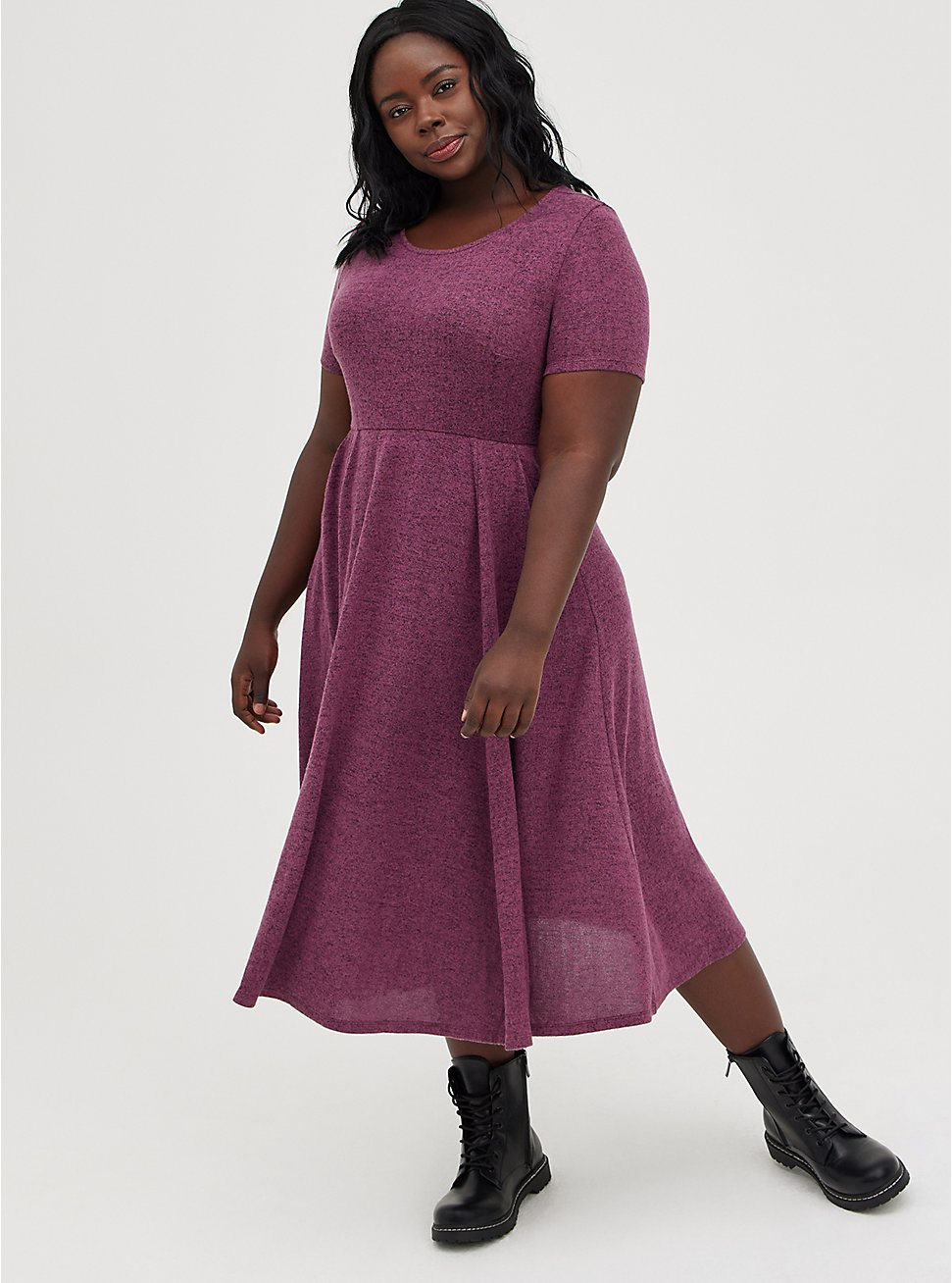 Midi Skater Dress - Super Soft Plush Dark Purple, BURGUNDY, hi-res
