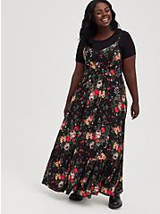 Tiered Maxi Dress - Super Soft Black Floral, FLORAL - BLACK, alternate