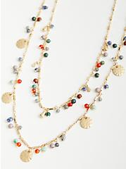 Blue Beaded & Disc Long Layered Necklace - Gold Tone , , hi-res