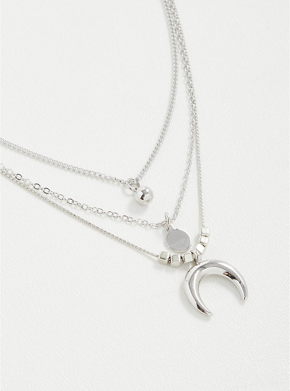 Horn Layered Necklace - Silver Tone, , hi-res
