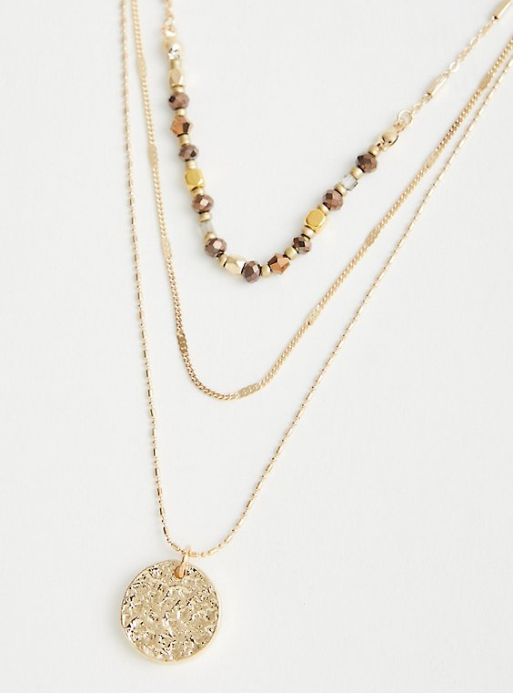 Beaded & Disc Layered Necklace - Gold Tone, , hi-res