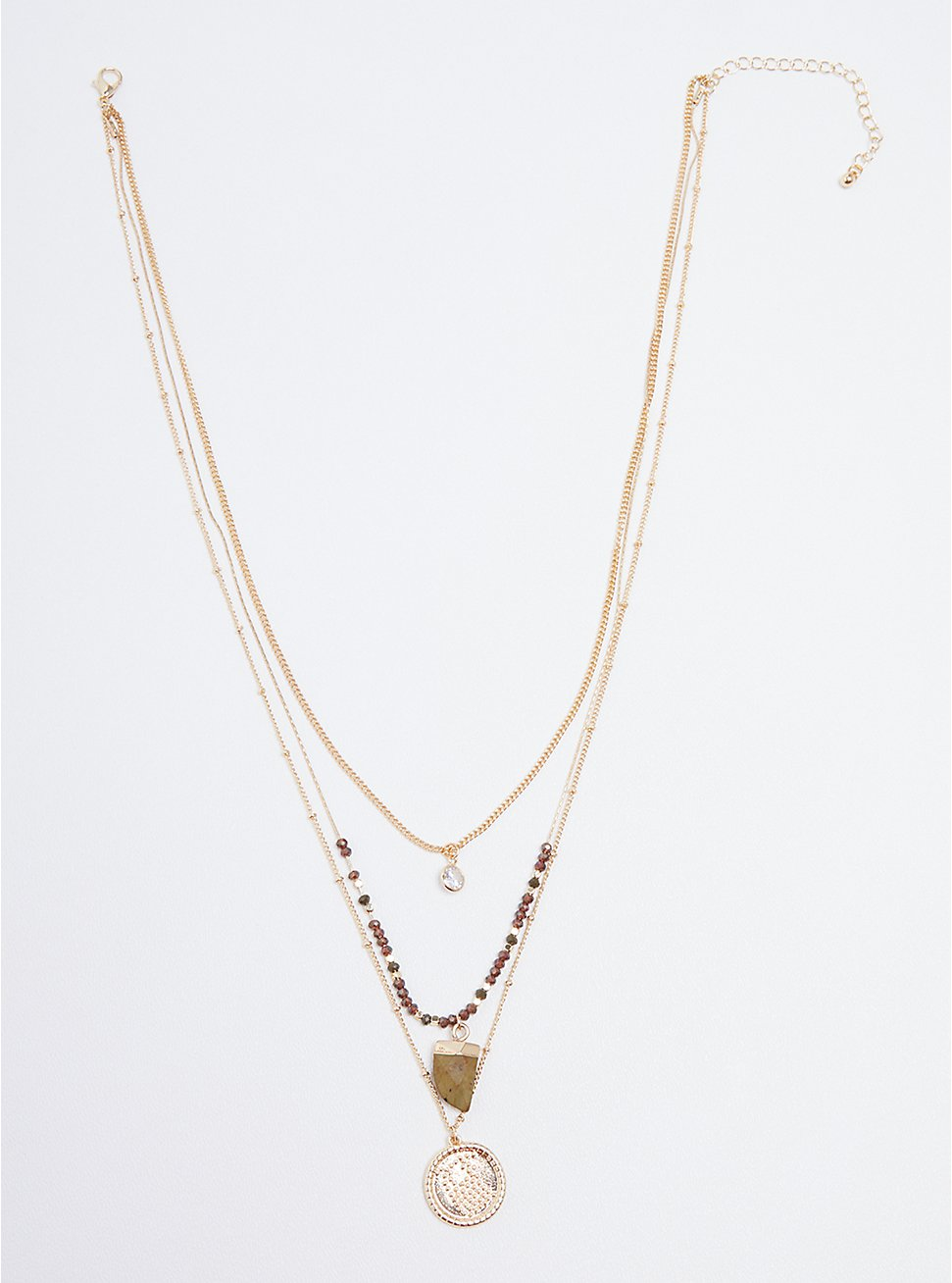 Faux Horn & Disc Layered Necklace - Gold Tone , , hi-res