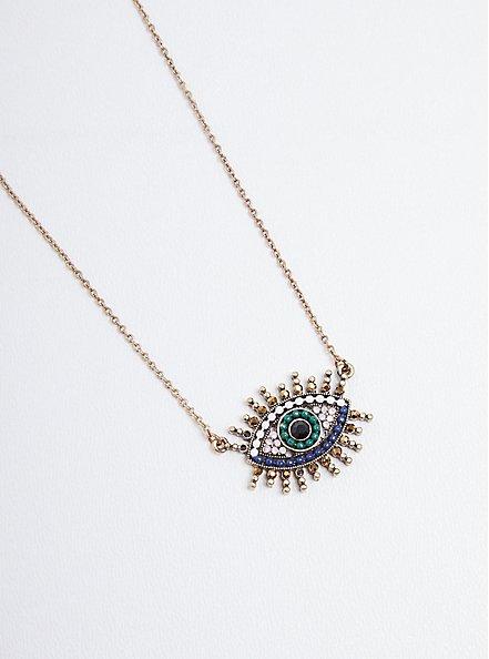 Rhinestone Evil Eye Necklace - Burnished Gold Tone, , alternate