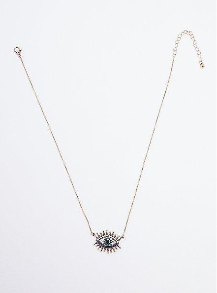 Rhinestone Evil Eye Necklace - Burnished Gold Tone, , hi-res
