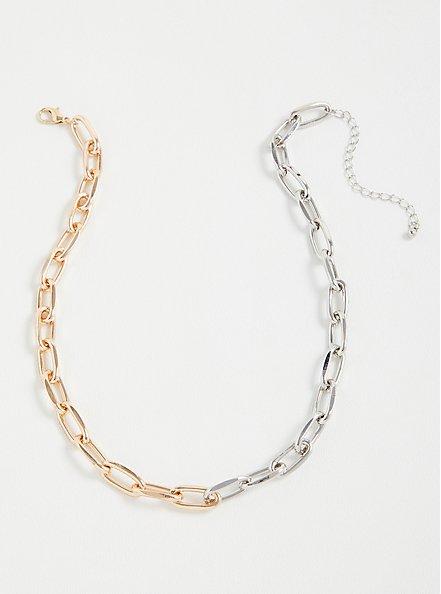 Single Link Necklace - Mixed Metal, , hi-res