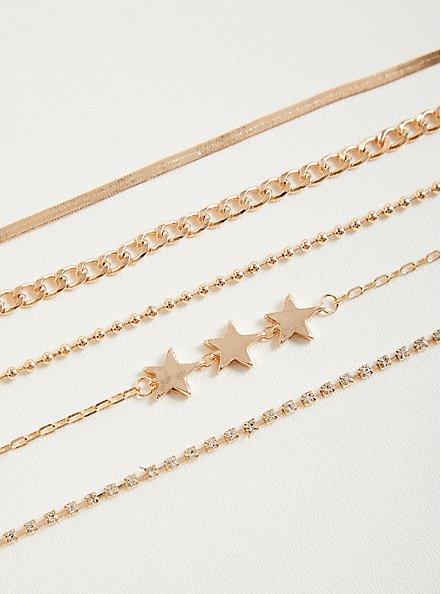 Star & Toggle Link Choker Set of 5 - Gold Tone, , alternate