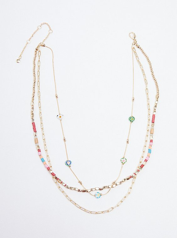 Floral Beaded Layered Necklace - Gold Tone, , hi-res