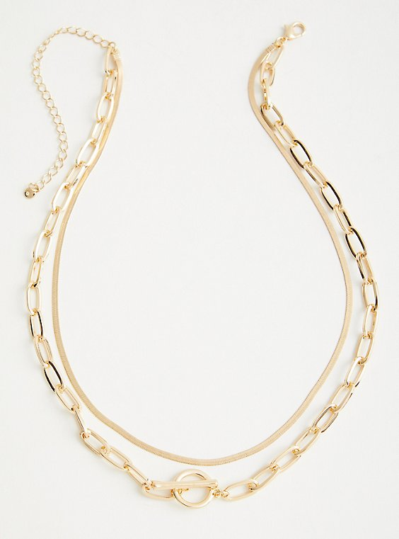 Link And Snake Link Layered Necklace - Gold Tone , , hi-res