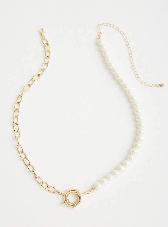 Link & Pearl Toggle Necklace - Gold Tone , , hi-res