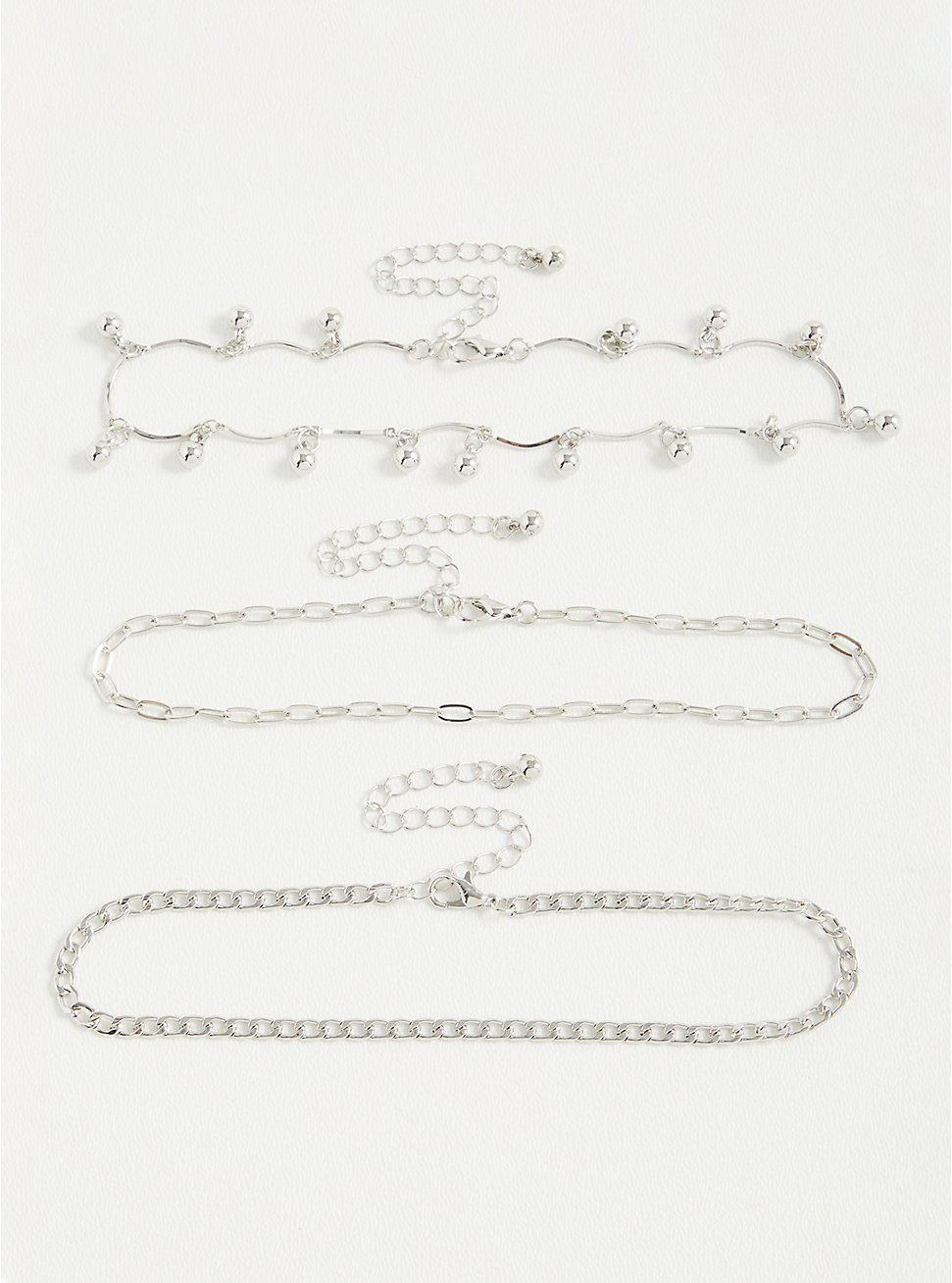 Chain Bead Anklet - Silver Tone , , hi-res