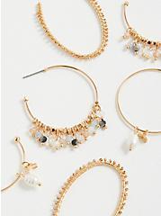 Beaded & Pearl Hoop Earring Set of 3 - Gold Tone , , alternate