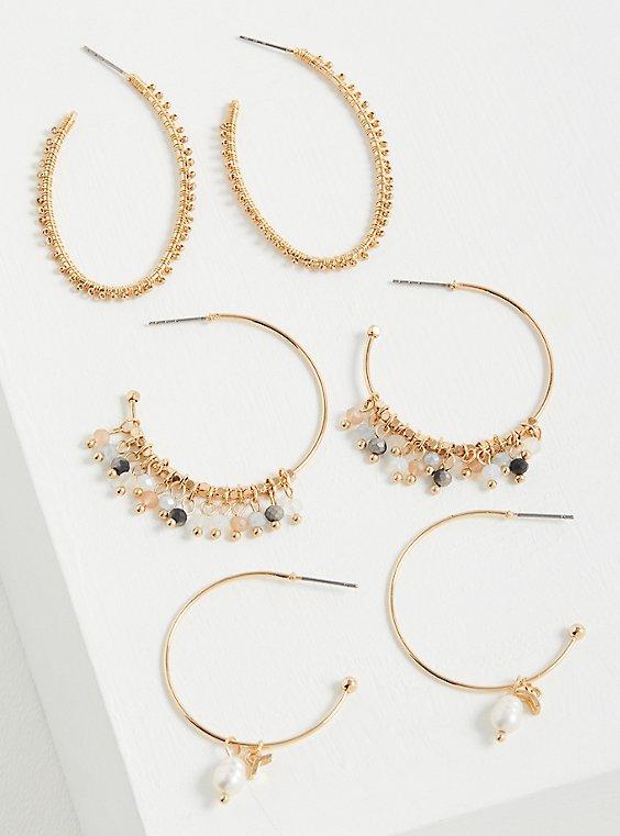 Beaded & Pearl Hoop Earring Set of 3 - Gold Tone , , hi-res