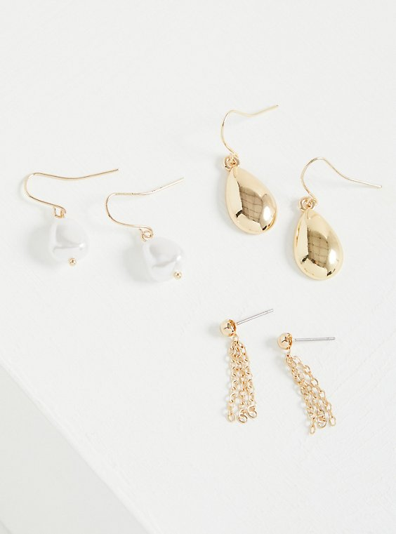 Mini Pearl Drop Earrings - Gold Tone , , hi-res