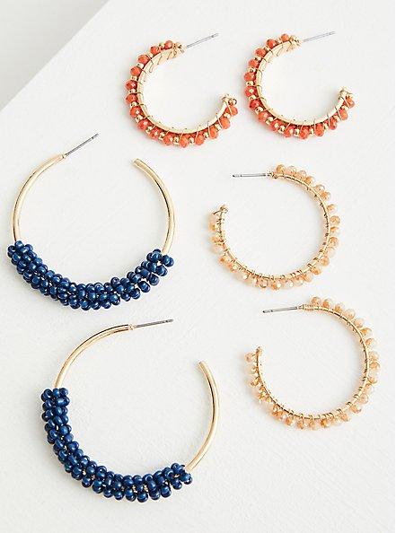 Beaded Hoop Set of 3 - Blue & Orange , , alternate