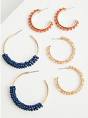 Plus Size Beaded Hoop Set of 3 - Blue & Orange , , alternate