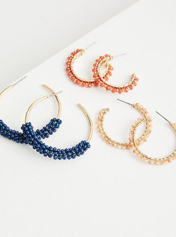 Beaded Hoop Set of 3 - Blue & Orange , , hi-res