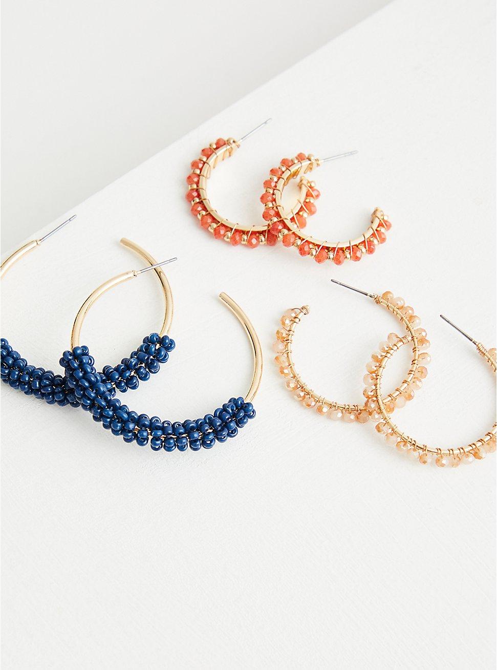 Plus Size Beaded Hoop Set of 3 - Blue & Orange , , hi-res