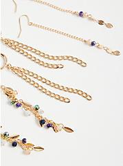 Blue Stone Linear Earring Set of 3 - Gold Tone, , alternate