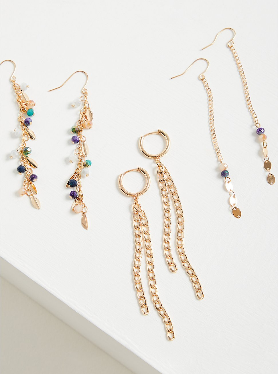 Blue Stone Linear Earring Set of 3 - Gold Tone, , hi-res