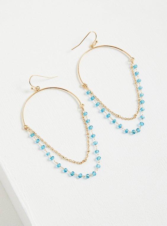 Beaded Chandelier Earring - Blue, , hi-res