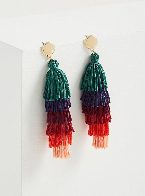Multi Color Block Fringe Earrings, , hi-res