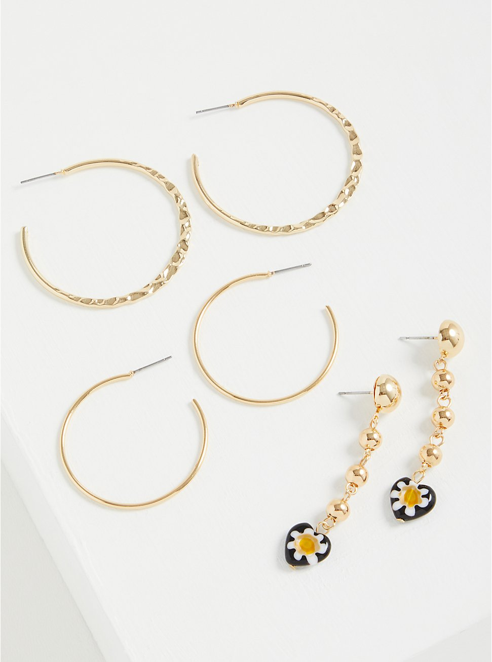 Floral Beaded Drop And Hoop Earring Set of 3 - Gold Tone, , hi-res