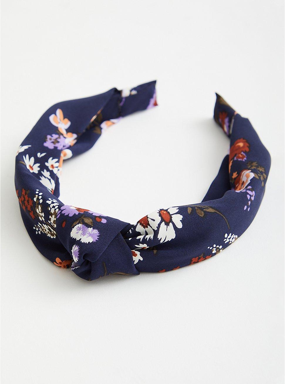 Plus Size Navy Floral Knot Headband, , hi-res