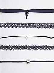 Skull Choker Set - Black & Silver Tone, , hi-res