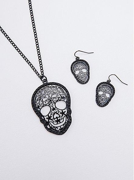 Filigree Skull Necklace & Earring Set - Hematite Tone, , alternate