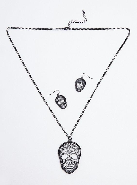 Filigree Skull Necklace & Earring Set - Hematite Tone, , hi-res
