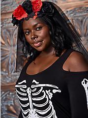 Plus Size Black Floral Veil Headband, , hi-res