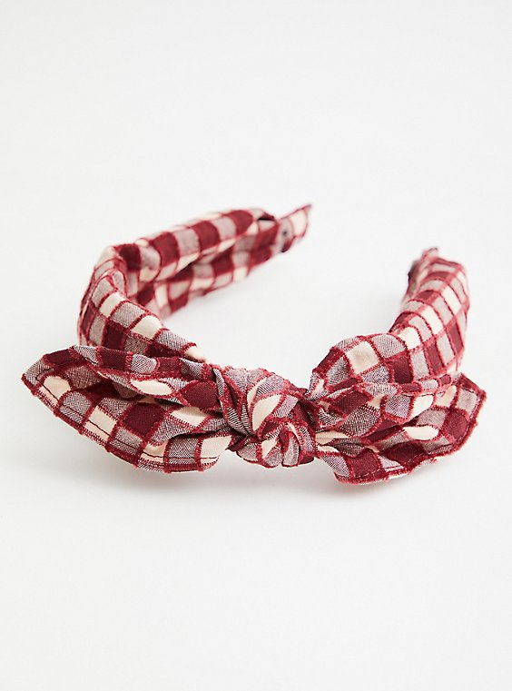 Burgundy Checkered Bow Headband, , hi-res