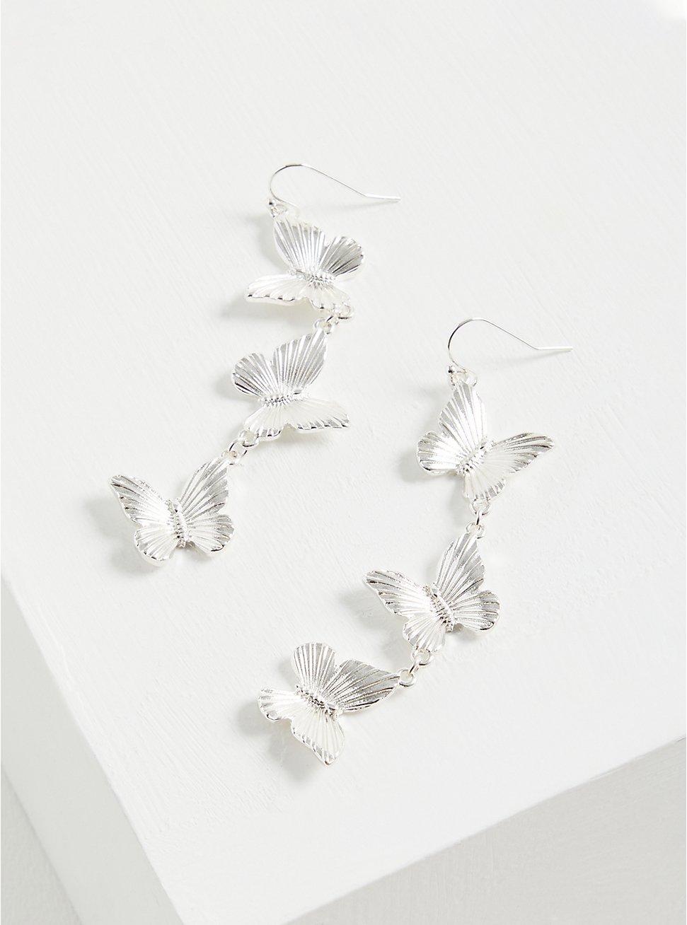 Butterfly Linear Earrings - Silver Tone , , hi-res