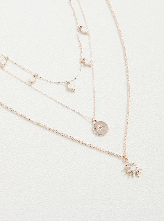 Plus Size Starburst Layered Necklace - Gold Tone, , hi-res