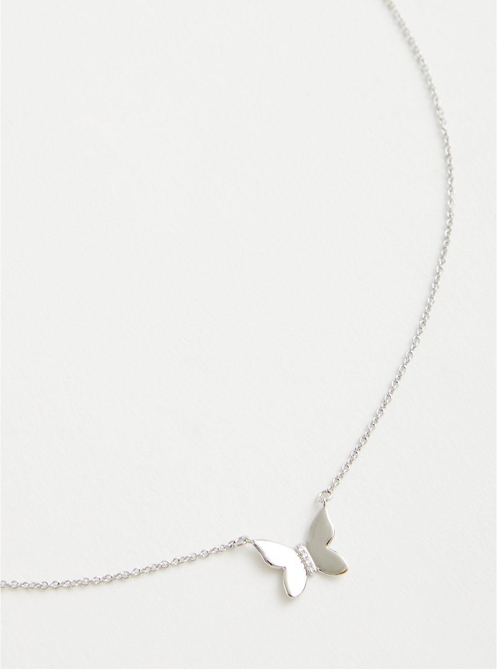 Butterfly Link Necklace - Silver Tone , , hi-res