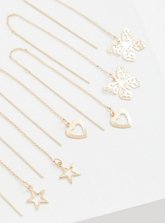 Star, Butterfly & Heart Threader Earring Set of 3 - Gold Tone, , hi-res