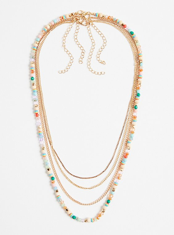 Multi Beaded 4-Layer Necklace - Gold Tone, , hi-res