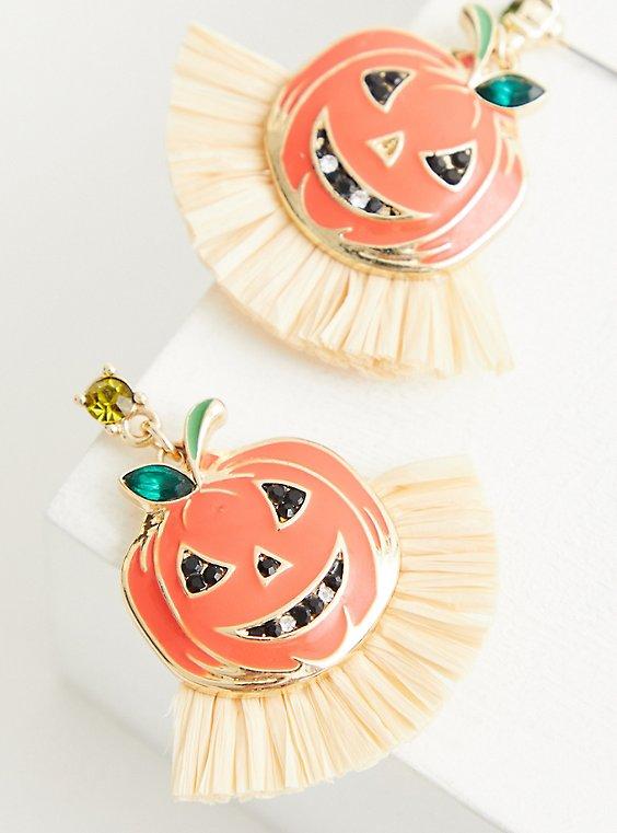 Pumpkin Fringe Statement Earring, , hi-res