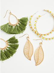 Olive Fringe Hoop And Leaf Earring Trio - Gold Tone , , alternate