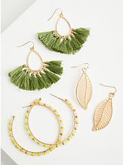 Olive Fringe Hoop And Leaf Earring Trio - Gold Tone , , hi-res