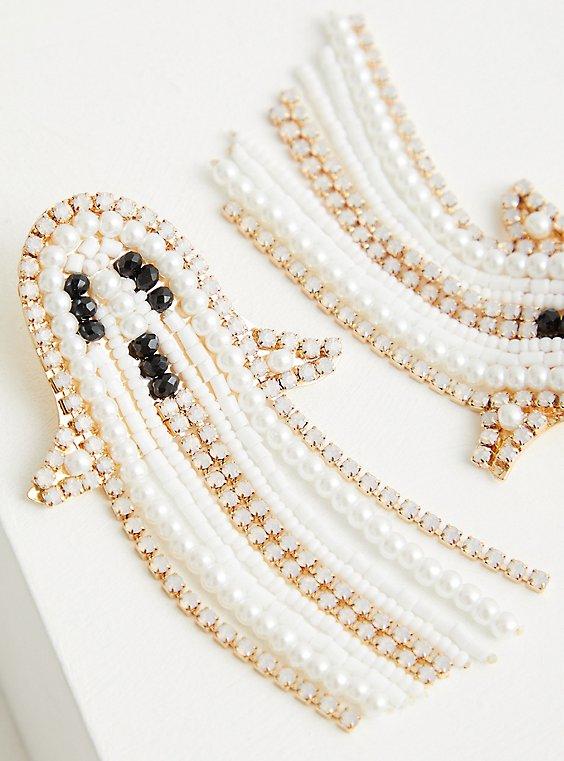 Pearl And Rhinestone Ghost Fringe Earring, , hi-res