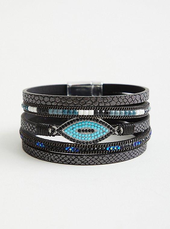 Black & Turquoise Evil Eye Magnetic Bracelet, BLACK, hi-res