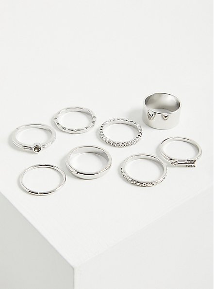 Arrow & Pave Ring Set of 8 - Silver Tone , , alternate