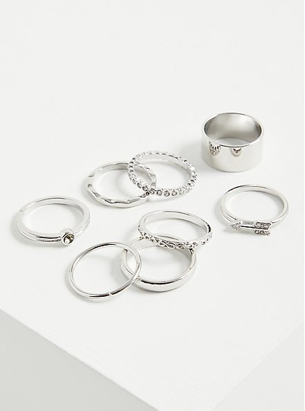 Arrow & Pave Ring Set of 8 - Silver Tone , , hi-res