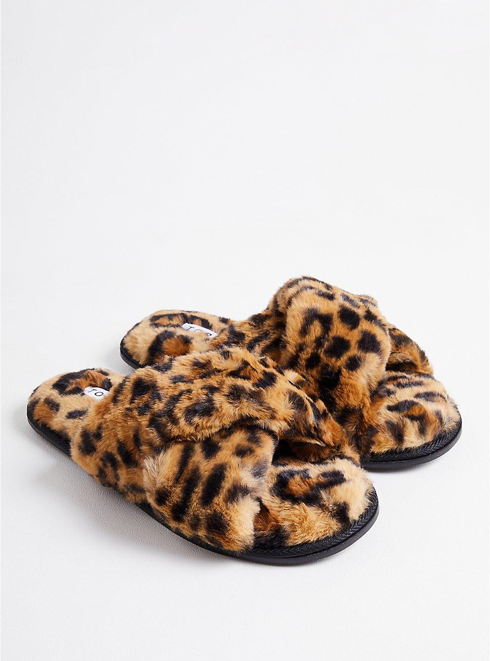 Plus Size Criss Cross Slipper - Faux Fur Leopard, LEOPARD, hi-res