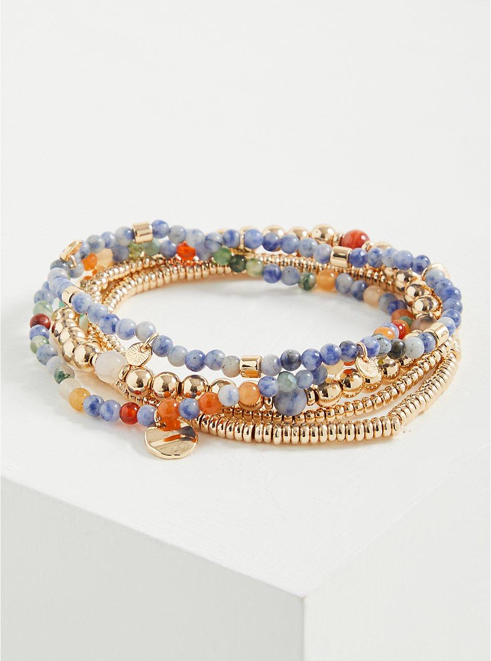 Beaded Stretch Bracelet Set of 5 - Gold Tone & Blue Stone, GOLD, hi-res