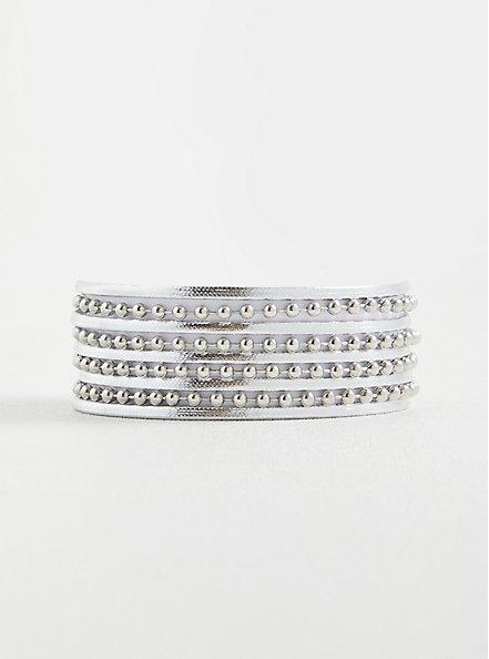 Chain Bead Magnetic Bracelet - Silver Tone , SILVER, hi-res