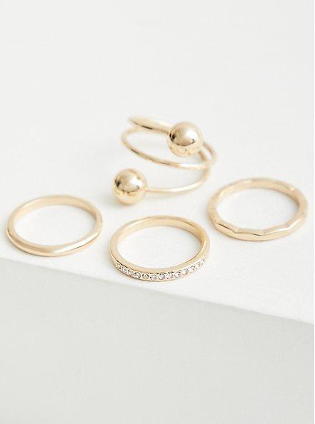 Plus Size Spiral Ball Ring Set of 4 - Gold Tone, , alternate